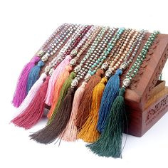 how to make tibetan prayer bead necklace with tassel - Google Search