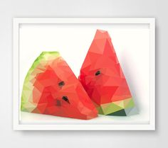 Low Poly Reife Melone geometrische Reife Melone von LowPolly