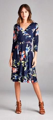Blue Floral Wrap Dress  Awesome blue floral print wrap dress. Quality and durable material, polyester/spandex blend. Wrap style.   Modest Cruise Apparel