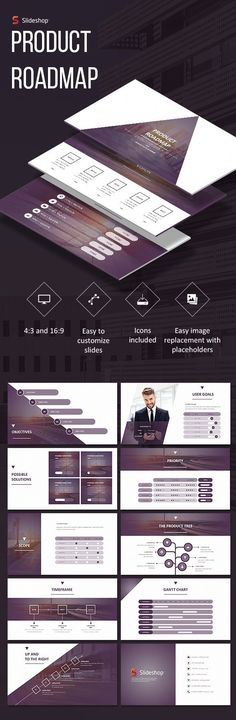 Buy Product Roadmap by Slideshop on GraphicRiver. Presentation format in .pptx Users will received two presentation file sizes (. Keynote Design, Powerpoint Slide Designs, Professional Powerpoint Templates, Business Powerpoint Templates, Powerpoint Presentations, Presentation Format, Presentation Slides Design, Presentation Templates, Free Business Card Design