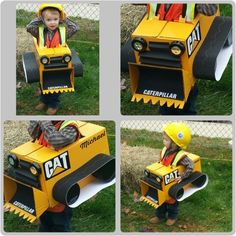 Super easy toddler bulldozer halloween costume! Diaper box painted yellow, flaps are cut and painted to form bucket. Dollar tree gift boxes painted black for wheels, black bulletin board boarder for track. Black cardboard for grill and inside bucket. And two stick on touch lights from dollar tree for headlights. Black ribbon for straps (cross in the back to keep from slipping off shoulders). CAT decals and done! We had a smoke stack from a paper towel roll but it kept coming off.