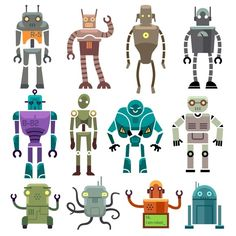 Vintage vector robot characters by @Graphicsauthor