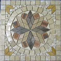 """24"""" Tumbled Travertine and Old Chicago Brick Indoor or Outdoor, Floor or Wall Art Medallion Mosaic By: Stone Deals Stone Deals http://www.amazon.com/dp/B0163M0OBS/ref=cm_sw_r_pi_dp_iWZdwb1AZ05XN"""