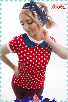 """Weiteres - Shirt """"Sally"""", Rot Punkte-Marine - ein Designerstück von mydearlove bei DaWanda"""