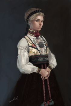 Beltestakk is one of several types of Norwegian traditional gowns called bunad. It`s made in endless variations of colors and patterns. It`s soon our national day, and I figured I make something for that occasion. Character Concept, Character Art, Concept Art, Character Creation, Character Ideas, Character Costumes, Character Portraits, Medieval Fantasy, Dark Fantasy