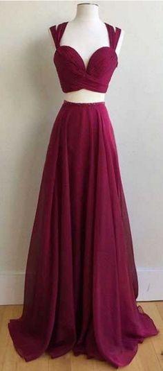 Two Pieces Chiffon Prom Dress