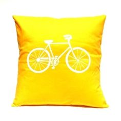 Bicycle in Yellow - Handmade Cushion Cover