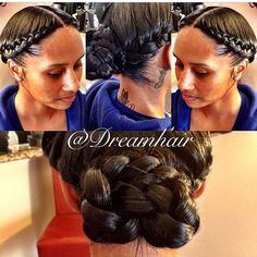 """""""I love this under braid pin up by @dreamhair.  It's such a pretty protective style, perfect for natural or relaxed hair! Flawless✨ #LAHair #LAHairstylist…"""""""