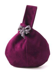evening handbag Maroon clutch with crystal bow broche by daphnenen, $45.00