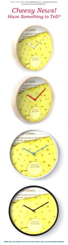 'Cheesy News: Have Something to Tell?' Clock by We ~ Ivy Face Towel, Presents For Friends, Bettering Myself, Baby On The Way, Good Cause, Hand Towels, To Tell, Clocks, Party Invitations