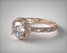 41121 engagement rings, halo, 14k rose gold twisted pave halo engagement ring item - Mobile