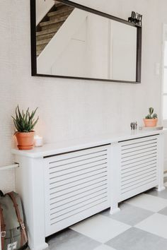The entryway is always a very important space of your house. First impressions are always important, Entryway Lighting, Entryway Decor, Hallway Lamp, Herschel, Radiator Cover, Ikea, Cabinet, Inspiration, Living Room