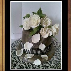 marble gardenias custom cake