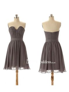 Grey Chiffon Short Bridesmaid Dress With Pleated Bodice - Bridesmaid Dresses - Lovegoddess