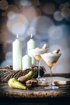 Weißes Birnen-Amaretto Zimt-Mousse - Patrick Rosenthal Mousse, Tolle Desserts, Xmas, Candles, Breakfast, Sweet, Foodblogger, Recipes, Muffins