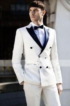 #MensUSA - #MensUSA Men's Ivory ~ Cream ~ Off White Tuxedo Double Breasted Style Black Lapel Two Toned 100% wool suit - AdoreWe.com