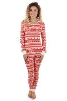 Women's Red and Cream Fair isle Pajama Set | Tipsy Elves