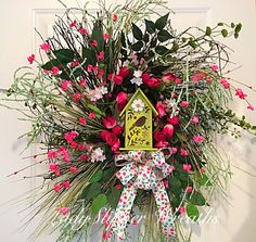 Spring Wreath-Easter Wreath-Woodsy Wreath-Tulip Wreath-Birdhouse Wreath-Floral Wreath-Pink Green Wreath- Summer Wreath-Geenery Wreath by LadySlipperWreaths on Etsy