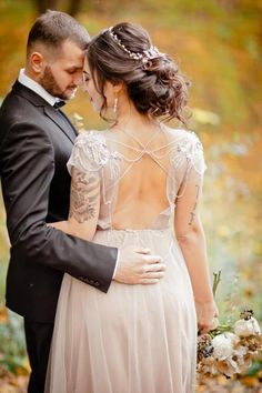 Fall Wedding Inspiration bride with backless-dress