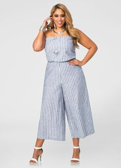 00831343495c Linen Cropped Wide Leg Strapless Jumpsuit Linen Cropped Wide Leg Strapless Jumpsuit  Plus Size Skirts
