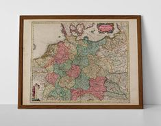 Old Map of Germany, originally created by Willem Janszoon Blaeu, now available as a 'museum quality' wall hanging print. France Map, Normandy France, French Art, French Vintage, Historical Maps, Antique Maps, Travel Posters, Vintage World Maps, Germany
