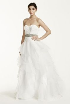 David's Bridal -  MK3667 Organza ruffled ball gown with strapless sweetheart organza bodice features beautiful draped detailing.  Ribbon at waist creates a flattering focal point.