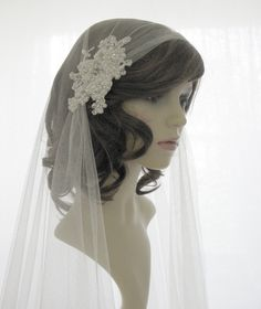Couture+bridal+cap+veil+1920s+wedding++veil++by+SarahMorganBridal,+£165.00