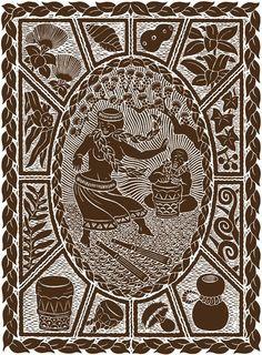 "Dietrich Varez woodcut ""E Hula E"""