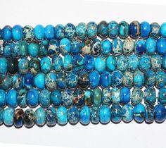 Impression Jasper Gemstone Blue Abacus Loose Beads by tostones