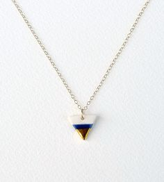 tiny porcelain triangle necklace gold dipped by ashjewelrystudio