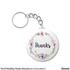 Floral Wedding Thanks Keychain   Party Favors