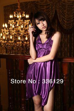 Sexy Lingerie New Womens 2 pcs Nightwear Sleep Lounge wear silk ...  Scalloped Hem 292ddc813