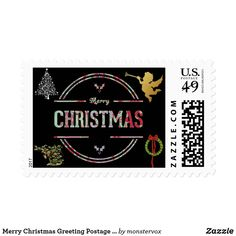 Merry Christmas Greeting Postage Stamp #Christmas #Holiday #Tree #Wreath #Envelope #Mail #Postage #Stamp