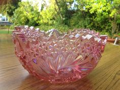 L.E Smith Glass Company Pink Carnival Glass Cut Glass Bowl Deep cut Hobstar pattern so pretty Pink Luster in lovely Wedding. $29.00, via Etsy.