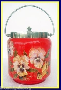 Antique Bright Red Cased Glass Cookie Biscuit Jar w HP Enamel Pansy 4824 | eBay