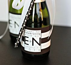 Striped Wedding Mini Champagne Bottle Labels - Birthday Mini Wine Labels - Bridal Shower Favors - An Mini Champagne Bottles, Mini Wine Bottles, Champagne Label, Bottle Labels, Wine Labels, Carbs In Beer, Engagement Party Favors, Wine Gift Baskets, Wine Label Design