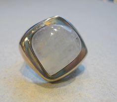 Big sterling silver moonstone ring