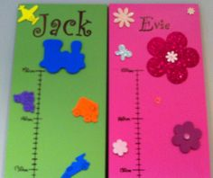"""Choose from a selection of vibrant strong colours, Green, Blue, Pink & Purple or pastel Pink, Blue Green or Lilac and add your child or children's names or maybe """"The . Family"""" or just """"Height Cha. Pastel Pink, Pink Purple, Lilac, Wooden Height Chart, Name Plaques, Money Box, Kid Names, Your Child, Kids Room"""