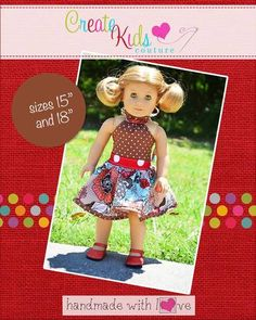 Create Kids Couture - Rosetta's Ruffle Neck Dress and Top Doll Size PDF Pattern, $5.00 (http://createkidscouture.com/rosettas-dolls.html)