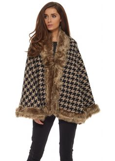 Designer Desirables Brown Dogtooth Faux Fur Trimmed Cape