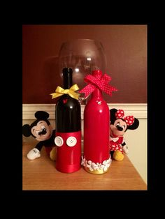 Mickey and Minnie Recycled Wine Bottle on Etsy, $30.00
