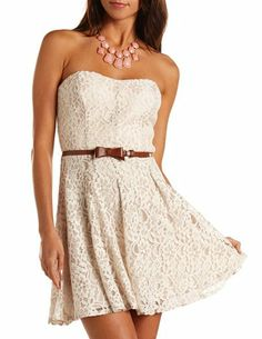 Bow Belt Lace Tube Dress: Charlotte Russe