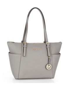 Jet Set Top Zip East-West Tote - Pearl Grey  This bag is stunning in person!