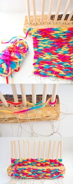 DIY Wooden Log Weaving Loom. Turn an old log into a weaving loom. So fun for the kids to learn how to weave!