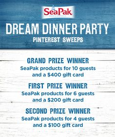 SeaPak Pinterest Sweepstakes Prizes @SeaPak Shrimp & Seafood Co. #DreamDinnerParty