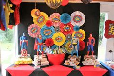 Loving the dessert table at this Superhero Birthday Party!! See more party ideas and share yours at CatchMyParty.com #superhero #desserttable