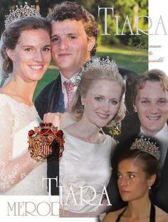 Diamant Tiara Diadem Hochzeit Vermählung Familien Schmuck Prinzen de Merode Palmetten Anthemium Ornamente für die Braut