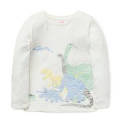 ac03727237e 100% Cotton Slub Tee. Long sleeve t-shirt with dinosaur placement print on