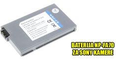 Zamenska baterija za Sony kameru NP-FA70. Kapacitet ove baterije je 1250 mAh. Ima sve karakteristike po Sony specifikaciji. Dimenzije baterije  (Š x D x V): 46,9 x 75,3 x 9,8 mm. Ova baterija se može koristiti za sledeće modele Sony kamera: NP-FA70 DCR-DVD7,-HC43,-HC90,-PC53, -PC55,-PC1000 DCR-DVD7E,DCR-HC90E,DCR-HC90ES, DCR-PC1000B,DCR-PC1000E,DCR-PC1000S.