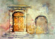 Architectural art, watercolor of yellow door by John Lovett